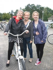 Me, Mum and my sister cycling around a national park in Apeldoorn.